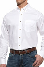 Ariat® Mens Solid Longsleeve Performance Poplin Button Down - White