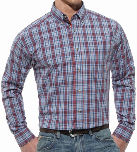 Ariat® Mens Vista Long Sleeve Performance Button Down Shirt - Blue Multi (Closeout)