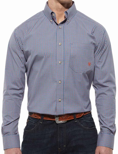 Ariat® Mens Wells Long Sleeve Performance Button Down Shirt - Bright Cobalt (Closeout)