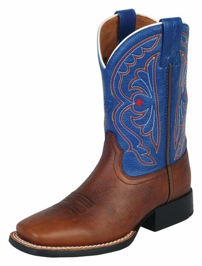 Ariat® Quickdraw Kids Boots - Brown Oiled Rowdy/Royal (Closeout)