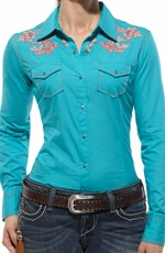 Ariat® Womens Baja Long Sleeve Shirt - Bluebird (Closeout)