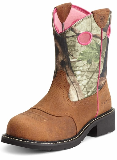 Ariat® Womens Fatbaby™ Cowgirl Steel Toe Boots - Toasted Auburn/Camo