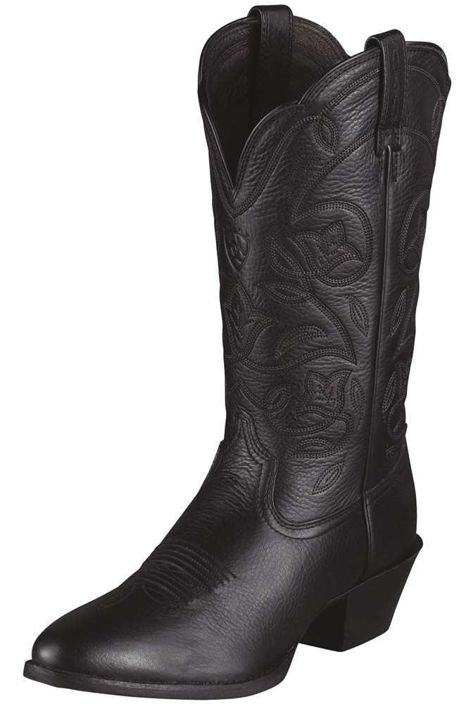 Ariat® Womens Heritage Western R Toe Cowboy Boots - Black Deertan (Closeout)