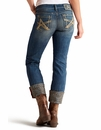 Ariat® Womens Relaxed Fit Low Rise Boyfriend Jeans with Leopard details - Cottonwood