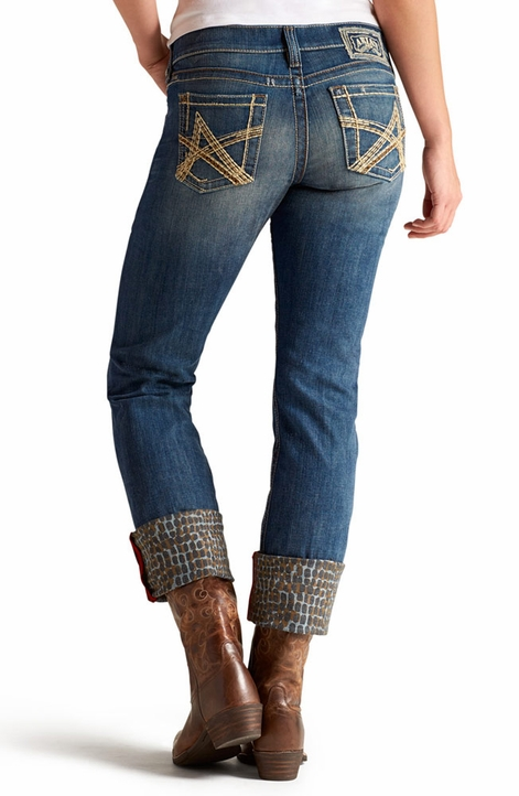 Ariat® Womens Relaxed Fit Low Rise Boyfriend Jeans with Leopard details - Cottonwood (Closeout)