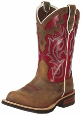 "Ariat Women's 10"" Unbridled Round Toe Western Boots - Powder Brown/ Mesa Brown"