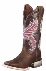 "Ariat Women's 12"" Fortress Square Toe Western Boots - Weathered Brown/ Purple Marble"