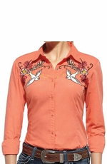 Ariat Women's Cantina Fitted Long Sleeve Solid Snap Western Shirt with Floral and Bird Embroidery - Coral