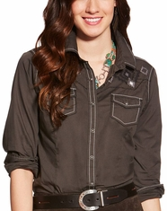 Ariat Women's Charlotte Long Sleeve Embroidered Snap Shirt - Lava Beach