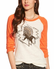 Ariat Women's Chica Headdress 3/4 Sleeve Print Top - Whisper White
