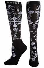 Ariat Women's Cross Knee High Socks - Black