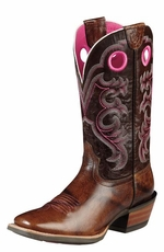 "Ariat Women's Crossfire 11"" Cowboy Boots - Weathered Buckskin/Dress Brown (Closeout)"