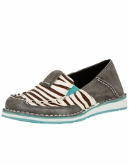 Ariat Women's Cruiser Zebra Slip-On Shoes - Grey (Closeout)