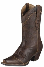 Ariat Women's Dixie Cowboy Boots - Brown Oiled Rowdy