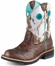 Ariat Women's Fatbaby Cowboy Boots - Brown Crinkle/Snowflake (Closeout)