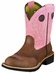 Ariat Women's Fatbaby Cowboy Boots - Roughed Chocolate / Pink (Closeout)