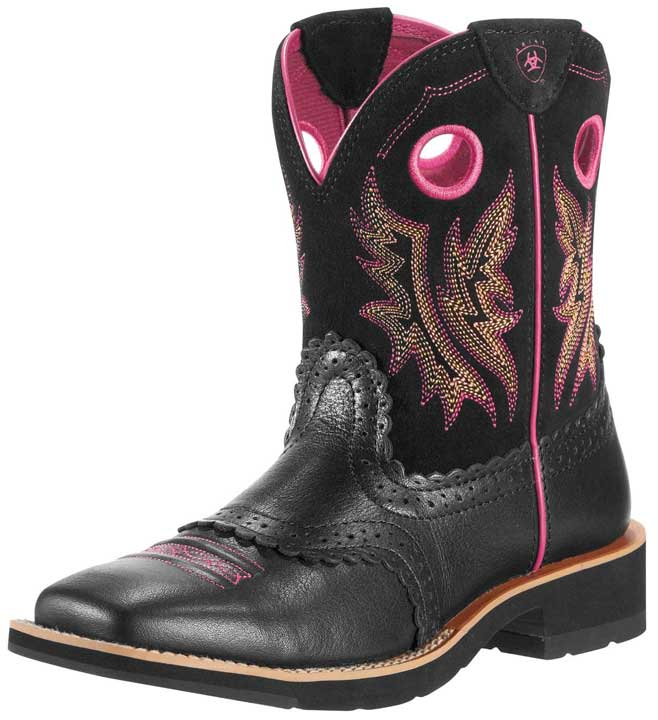 Ariat Women's Fatbaby Cowgirl Boots - Mustang Black/ Pink-Closeout