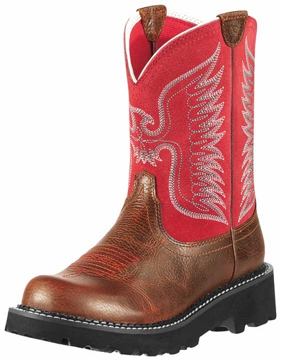Ariat Women's Fatbaby Thunderbird Cowboy Boots - Fiddle Brown/ Red (Closeout)