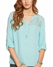 Ariat Women's Grace Blouse Top - Sparkling Aqua (Closeout)