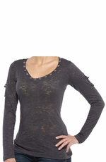 Ariat Women's Hitch Long Sleeve Burnout Top - Shadow (Closeout)