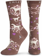 Ariat Women's Horse Love Ankle Socks - Taupe