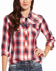Ariat Women's Journey Long Sleeve Embroidered Plaid Snap Shirt - Red