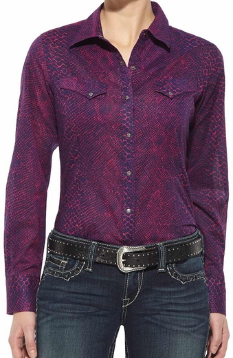 Ariat Women's Long Sleeve Python Print Snap Western Shirt - Purple/Pink