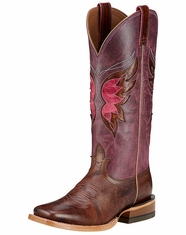 Ariat Women's Mariposa Wide Square Toe Boots - Weathered Buckskin/Purple