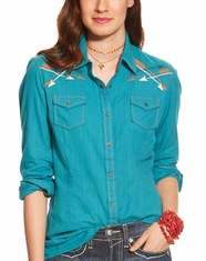 Ariat Women's Orchid Long Sleeve Embroidered Snap Shirt - Biscay Blue