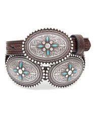 Ariat Women's Oval Concho Belt - Brown/Turquoise