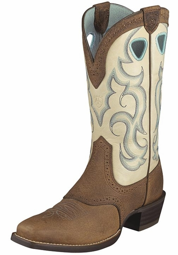 Ariat Women's Rawhide Square Toe Cowboy Boots - Cream/Earth