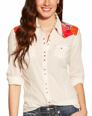 Ariat Women's Rose Long Sleeve Floral Yoke Snap Shirt - Whisper White