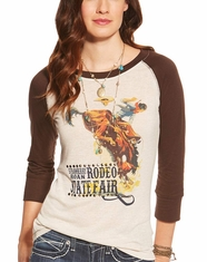 Ariat Women's Sally 3/4 Sleeve Rodeo Print Top - Multi