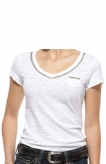 Ariat Women's Short Sleeve Chain Trim Pocket Tee Shirt - White (Closeout)