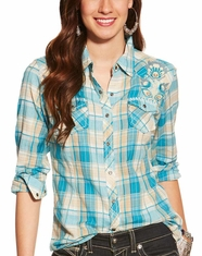 Ariat Women's Spirit Long Sleeve Plaid Snap Shirt - Blue