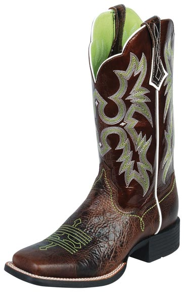 Ariat Women's Tombstone Cowboy Boots - Chocolate Chip/Brown Patent