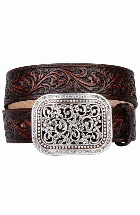 Ariat Women's Tooled Belt with Rhinestone Filigree Buckle - Brown