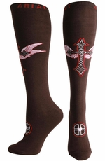 Ariat Women's Winged Cross Knee High Socks - Coffee