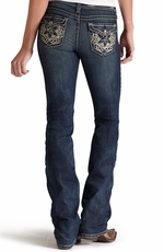 Ariat Womens Amber Relaxed Fit Boot Cut Jeans with Crochet Flaps - Dark Cloud