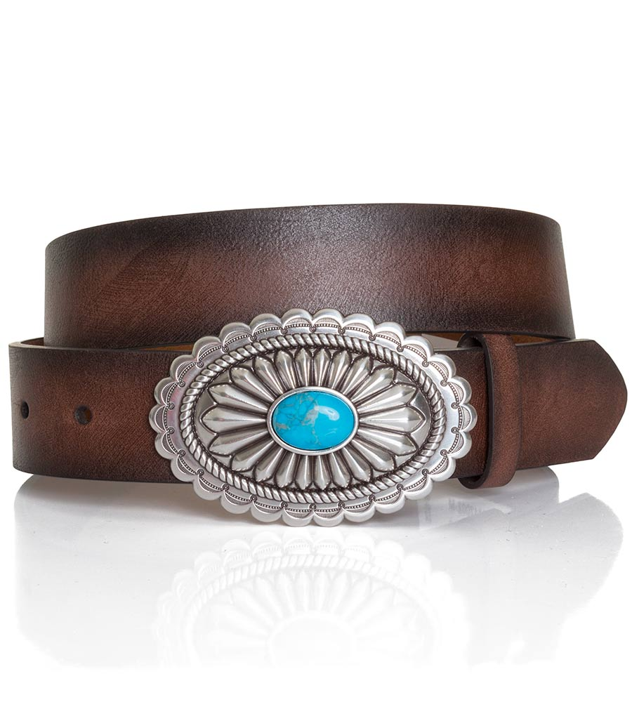 ariat s 1 1 2 quot oval turquoise buckle belt brown