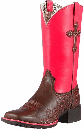 Ariat Womens Crossroads Cowboy Boots - Rich Chocolate/Neon Pink (Closeout)