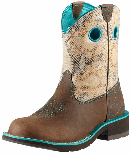 Ariat Womens Fatbaby Starstruck Cowboy Boots - Powder Brown/Sand Python Print (Closeout)
