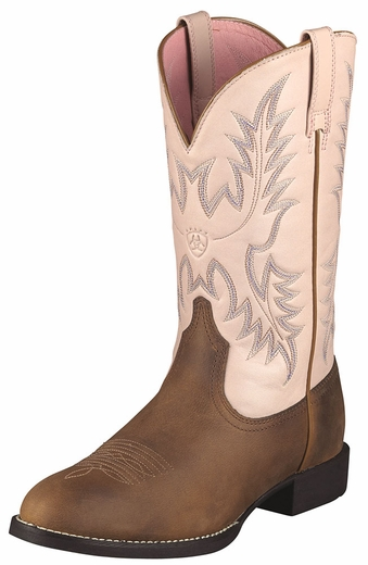 Ariat Womens Heritage Stockman Cowboy Boots - Distressed Brown/Pale Pink