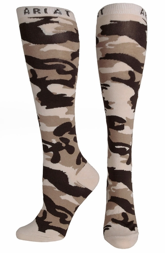 Ariat Womens Camo Knee High Socks- Brown