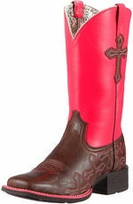 Ariat Womens Crossroads Cowboy Boots - Rich Chocolate/Neon Pink