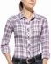 Ariat Womens Dana Long Sleeve Fitted Plaid Western Snap Shirt - Navy