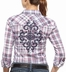 Ariat Womens Dana Long Sleeve Fitted Plaid Western Snap Shirt - Navy (Closeout)