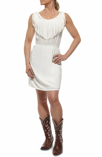 Ariat Womens Fringe Dress - White (Closeout)