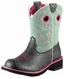 Ariat Womens Fatbaby Sheila Cowboy Boots - Charcoal Elephant Print/Mint (Closeout)