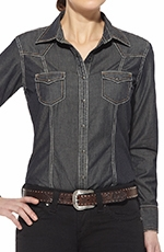 Ariat Womens Georgia Long Sleeve Snap Western Shirt - Denim (Closeout)